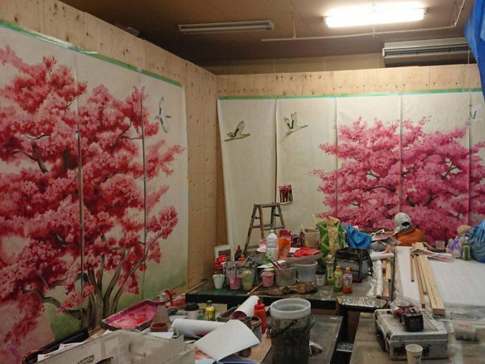 壁画制作現場