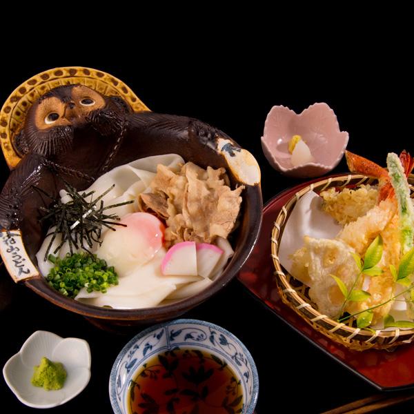 鬼ひも川と天ぷらセット