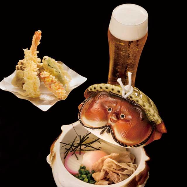 たぬき器と天ぷらとビール