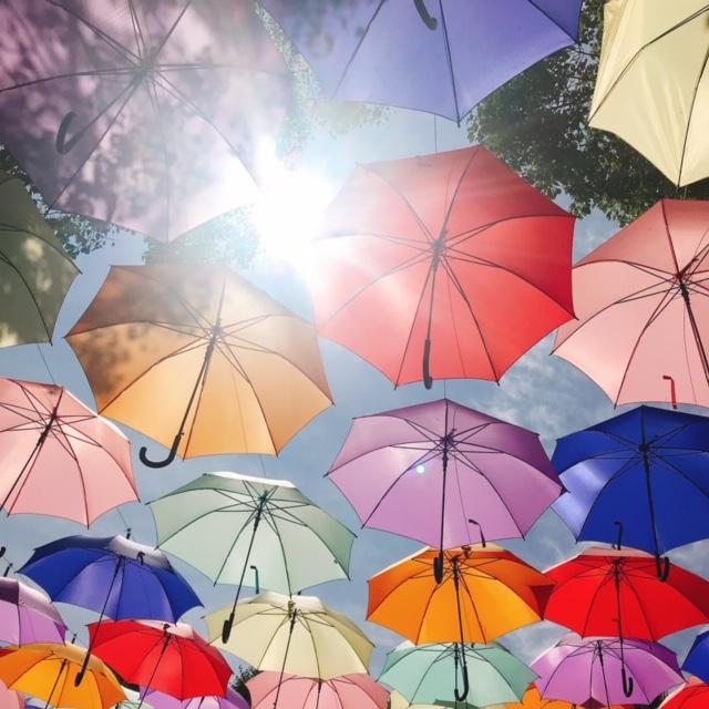 傘の間からまぶしい日差し